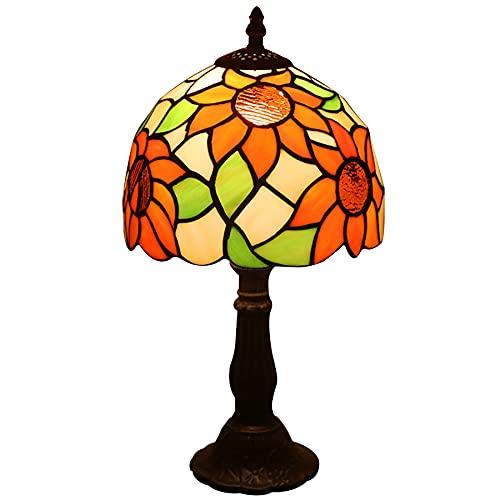 Lámpara De Mesa Estilo Tiffany 7.8 Pulgadas Jardín Girasol Vidriera Luz De Noche Habitación De Niños Dormitorio Lámpara De Mesa De Noche Sala De Estar Luz De Lectura Retro