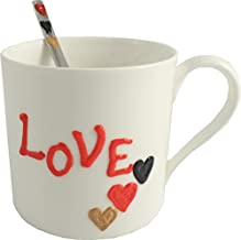 Personalized Love Hearts Fine Bone China Mug and Spoon Gift Set