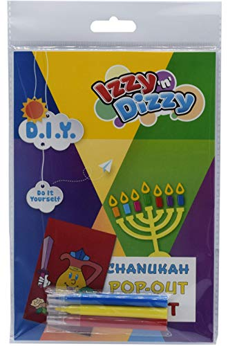Hanukkah Pop-Out Art Kit - Includes 8' x 6' Board and 3 Markers (Non-Toxic) - Chanukah Arts and Crafts - Gifts and Games