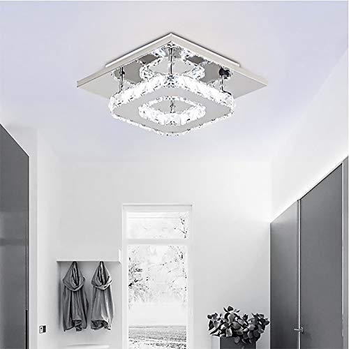 DEBEME - Lámparas con cristales, diseño cuadrado, luces de techo LED modernas, 12W, base de acero inoxidable, ideales para dormitorios, salas de estar y pasillos