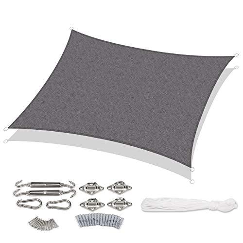 Sekey Toldo Vela de Sombra Rectangular HDPE Protección Rayos UV Resistente Permeable Transpirable para Patio, Exteriores, Jardín, con Cuerda y Kit de Montaje, Antracita 3×5m