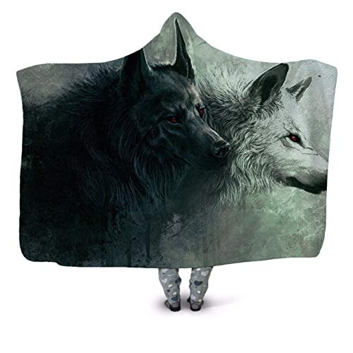 GermYan Wolf 3D Print Plush Hooded Blanket For Adults Children Warm Wearable Fleece Throw Blanket Home Office Washable 150 * 200Cm