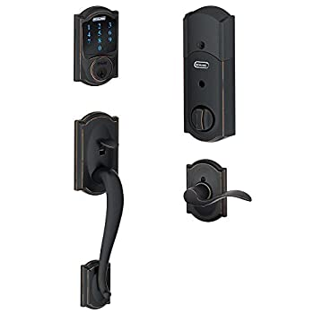 SCHLAGE Z-Wave Connect Camelot Touchscreen Deadbolt with Built-In Alarm Works with Amazon Alexa via Wink Aged Bronze FE469NX ACC 716 CAM LH