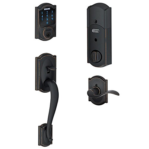 Schlage Z-Wave Connect Camelot Touchscreen Deadbolt with Built-In Alarm, Works with Amazon Alexa via...