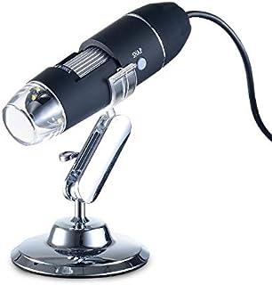 USDWRM USB Digital Electronic Microscope 1600X USB Digital Microscope Camera Endoscope 8LED Magnifier with Metal Stand USB...