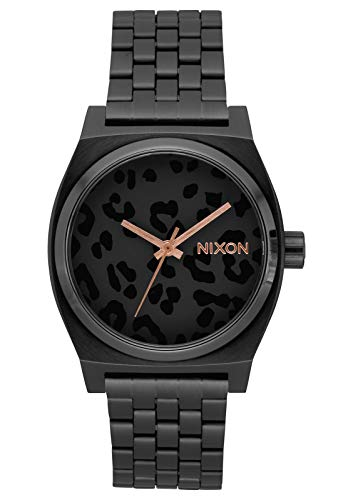 NIXON Time Teller A045 - All Black/Cheetah - 100m Water Resistant Men's Analog Fashion Watch (37mm Watch Face, 19.5mm-18mm Stainless Steel Band)