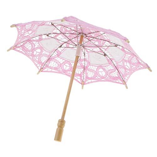Sharplace Dentelle Parapluie Floral Artisanal Style Oriental Parasol Elégant Romantique Accessoires de Mariage - Rose