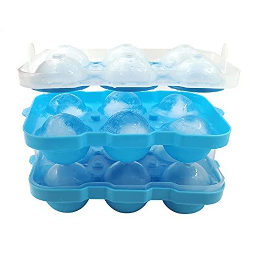 puseky Cubo de hielo esfera fabricante 6 cavidades con tapa moldes de cubitos de hielo para enfriar whisky cócteles postre