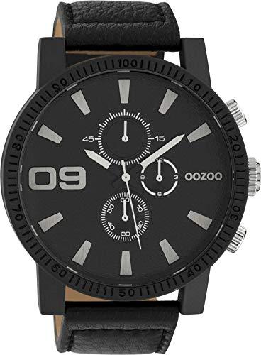 Oozoo Herrenuhr mit Lederband 50 MM Black/Schwarz/Schwarz C10067