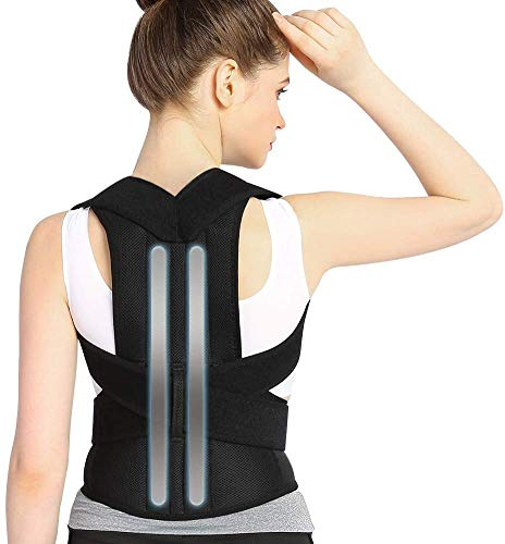 Haltungskorrektur,Doact Haltungskorrektur Geradehalter für Rücken Schulter, Rückenstabilisator für Herren Damen mit 2 Herausnehmbare Schienen,Geradehalter Größenverstellbar mit 2 Weichen Polster S