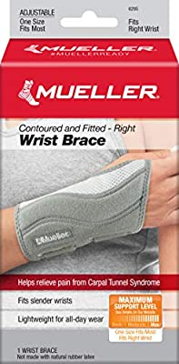 Mueller Fitted Wrist Brace, Gray, Right Hand, One Size Fits Most, Grey