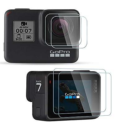 [4Pcs] Diruite Screen Protector for GoPro Hero 7(Only Black)/Hero HD(2018)/Hero 6/Hero 5, Ultrathin Clear Tempered Glass Screen Protector for GoPro Hero 7 Black