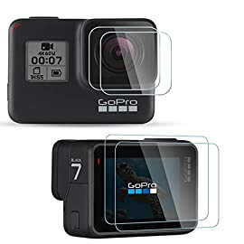[4Pcs] Diruite Screen Protector for GoPro Hero 7(Only Black)/Hero HD(2018)/Hero 6/Hero 5, Ultrathin Clear Tempered Glass Screen Protector for GoPro Hero 7 Black 1 【Compatible model】Perfectly Fit for GoPro Hero 7 Black/ Hero 6/ Hero 5/ Hero HD 2018. (Not Fit for GoPro Hero 8 / Hero 7 White/ Silver) 【Product Material】high quality 9H hardness glass,avoid screen and lens from accidental scuffs and scratches by knife, keys and other hard objects. 【Product Features】full coverage screen protection / HD clear viewing experience / bubble-free / easy to install