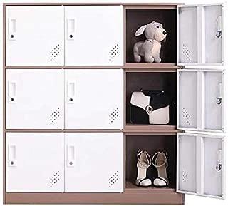 Unassembled Standard 9 Doors Metal Locker, Three Tier Box Style Metal Office Storage Cabinet Locker for Gym, Bank and School, Home Locker Organizer Storage for Living Room, Cloth and Kids, White