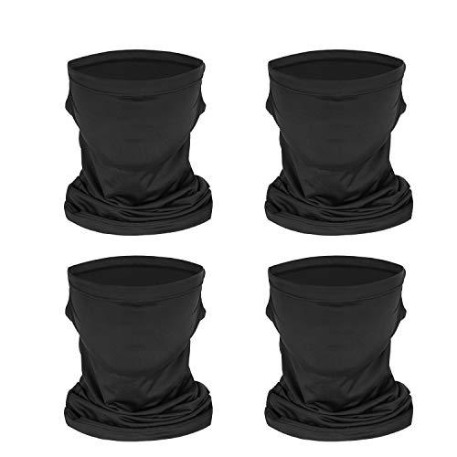 Funxim Halstuch, Bandanas Multifunktionstuch Schal 4 Stück Schwarz Atmungsaktiver UV-Schutz Elastiche Multifunktion Stirnband Gaiter Balaclava Kopfbedeckung für Camping, Laufen, Motorradfahren, Reiten