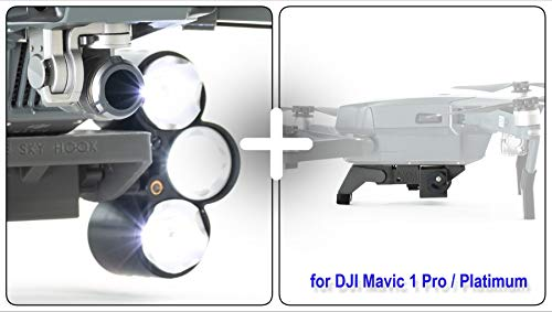 Professional Light Searchlight for DJI Mavic 1 Pro / Platinum, Bundled with Release and Drop PLUS model device, for Drone Fishing, Bait Release, Search & Rescue, Payload Delivery, Fun Activities