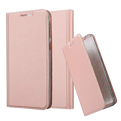 Cadorabo Hülle für HTC Desire 820 - Hülle in ROSÉ Gold – Handyhülle mit Standfunktion und Kartenfach im Metallic Look - Case Cover Schutzhülle Etui Tasche Book Klapp Style
