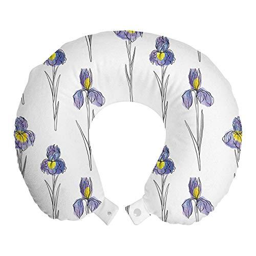 ABAKUHAUS Botanisch Reisekissen Nackenstütze, Aquarell Iris-Blumen, Schaumstoff Reiseartikel für Flugzeug und Auto, 30x30 cm, Blau Violett Senf