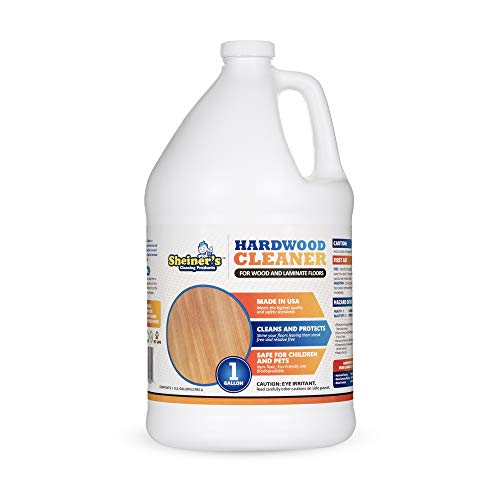 of wood floor cleaning solutions Sheiner's Hardwood Floor Cleaner, for Deep Cleaning of Wood, Laminate, Natural and Engineered Flooring, Ready-to-Use, pH Neutral and Non Toxic, Safe for All Surfaces, 1 Gallon