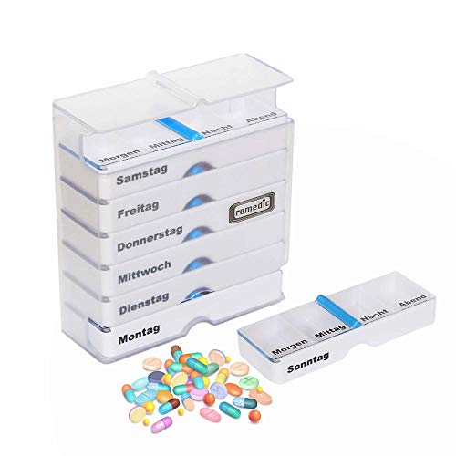 Medikamentendosierer Wochendispenser Pillendose 7-Tage Tablettenspender klar