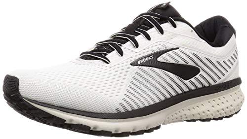 Brooks Mens Ghost 12 Running Shoe - White/Grey/Black - D - 11.5