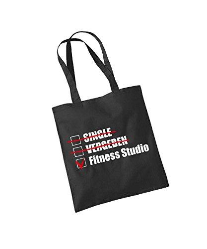clothinx - Single, Vergeben, Fitness Studio! - Baumwolltasche Schwarz, langer Henkel