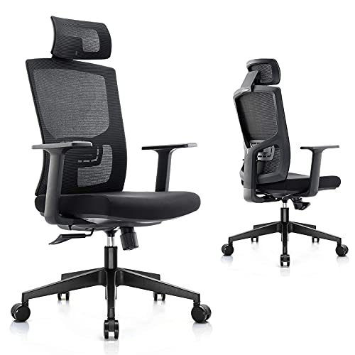 ElsaYX Ergonomic Office Chair with Arms Computer Chair High Back Autonomous Chair with Headrest Reclining Home Office Desk Chairs with Wheels, Household Swivel Chair Mesh Chair