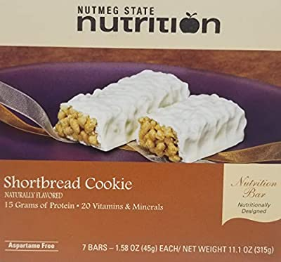 Nutmeg State Nutrition High Protein Snack and Meal Replacement Bar/Diet Bars (1 Box 7 Servings)- Shortbread Cookie (7ct) - Trans Fat Free, Aspartame Free, Kosher, High Fiber, Post Workout and Diet Bar