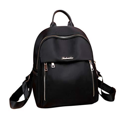 Rucksack Mädchen Damen, VECOLE Backpack Oxford Stoff Rucksack Große Kapazität BLässige Mode Schultasche Campus Studententasche für Universität/Arbeit/Reise(Schwarz)
