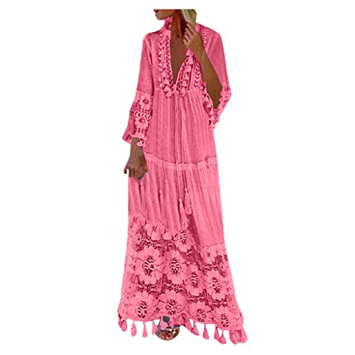 Bohemian Dress for Women V Neck Long Sleeve Tassel Plus Size Long Lace Dress Vacation Beach Ethnic Style Maxi Dresses Pink