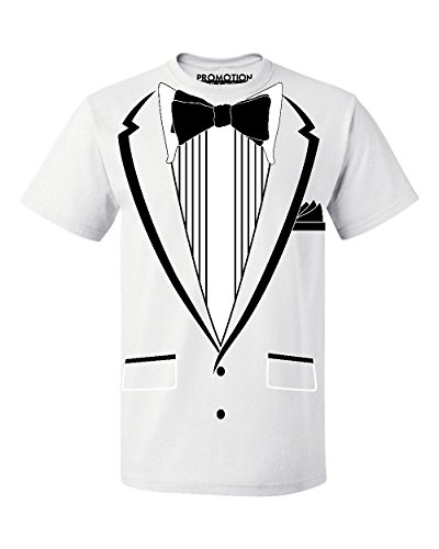 Promotion & Beyond Tuxedo (Black) with Pocket Square Ceremony Men's T-Shirt, XL, White