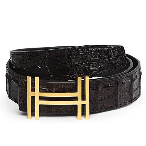 RosyU Cintura da uomo con cintura in coccodrillo con design a fibbia HH (Marrone Scuro Oro, 105 cm/(34/36))