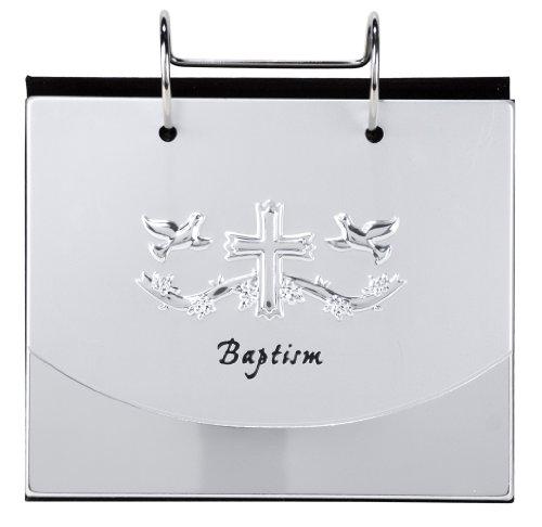 Malden International Designs Baptism Christening Flip Album Picture Frame, 4x6, Silver