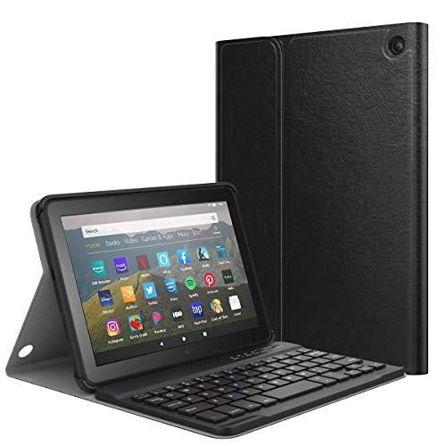 Fire HD 8 2020 キーボード付き ケース ATiC New Fire HD 8 / 8 plus 2020 キーボードカバー 着脱式 オートスリープ スタンド機能付き 多角度調整 高級PUレザー 耐久性 Bluetooth ワイヤレスキーボードカバー PCバックカバー ブルートゥースキーボードカバー Black