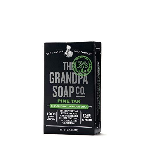 Pine Tar Bar Soap by The Grandpa Soap Company   The Original Wonder Soap  Vegan, 3-in-1 Cleanser, Deodorizer & Moisturizer   3.25 Oz.
