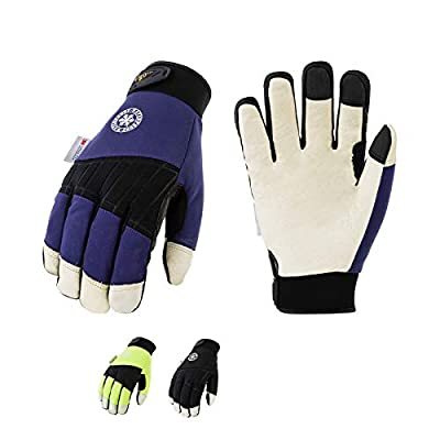 Vgo 3Pairs 32? or above 3M Thinsulate C40 Lined Winter Premium Pigskin Leather Waterproof Work Gloves (Size L,3Colors,PA1016FW)