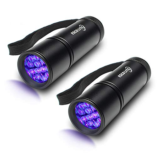 Escolite UV Flashlight Black Light Flashlight, 2pack 12 LED 395 nM Ultraviolet Blacklight Flashlight Detector for Dog Urine, Pet Stains, Matching with Pet Odor Eliminator(Batteries not Include)