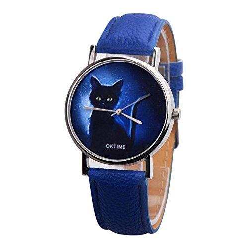 Hevoiok 2018 Hot Sale Damen Uhren Einfache Katze Muster Design Modisch Lederband Damenuhren Armbanduhr Quartzuhr Analog mit Batterie (Dunkelblau)