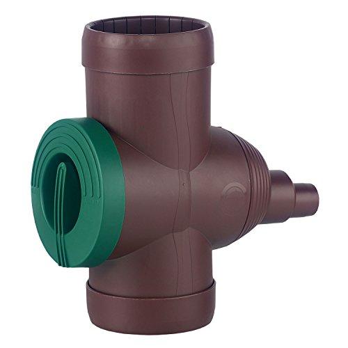 Regenwasserfilter Regensammler Inox mit Edelstahlsieb und Absperrhahn braun für Fallrohre Ø 68 - 100 mm zum Befüllen von Regentonnen, Regenfässer und kleineren Regenwassertanks.