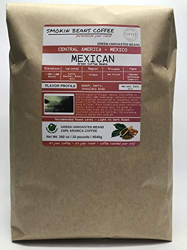 10 pounds| Mexican| Farm: Finca Nextlalpa| Grade-Altura| Spice,Chocolate,BrownSugar,Nuts/Apple| Specialty-Grade Green Unroasted Whole Coffee Beans|for Home Coffee Roasters|by Smokin' Beans Coffee Co