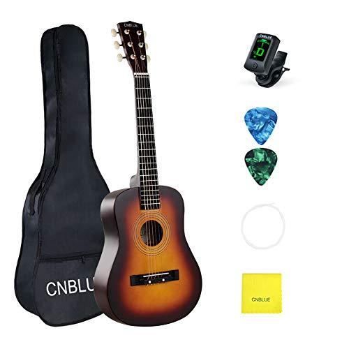 Kid Beginner Guitar Classical Guitar Acoustic Guitar 1/2 Half Size 30 inch Steel Strings (Yellow)