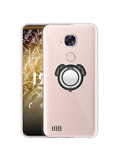 Sunrive Kompatibel mit Huawei Ascend Mate 7 Hülle Silikon, 360°drehbarer Ständer Ring Fingerhalter Fingerhalterung Handyhülle Transparent Schutzhülle Etui Hülle (Farbe schwarz) MEHRWEG