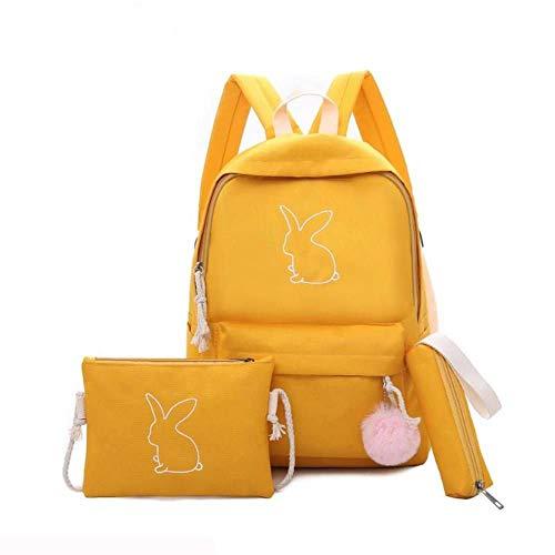 XMXYLP 3 Unids/Set Mochila Escolar Lienzo Impresión Lindo Conejo Mochilas Escolares para Adolescentes Mujeres Mochilas Bolso De Mujer Sólido, Amarillo