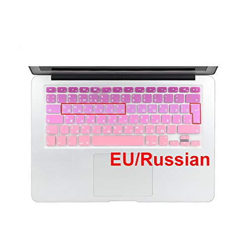 Euro Spanish English Russia Water Dust Proof Keyboard Cover for MacBook air 13 pro 13 15 Retina Protector Gradual Change Colors-EU Russian Pink-
