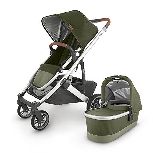 UPPAbaby Cruz V2 Stroller - Hazel (Olive/Silver/Saddle Leather) + Bassinet - Hazel (Olive/Silver)