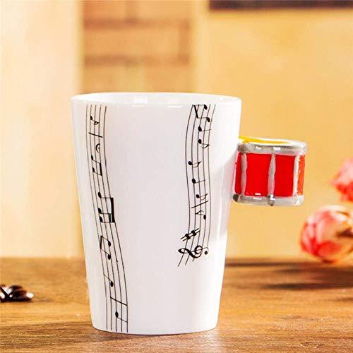 WYYHYPY Taza de Guitarra eléctrica de cerámica de la Copa Musical Taza de Instrumentos Musicales de Taza de Leche nórdica, Bongo Rojo de Cinco líneas, 201-300ml Tazas