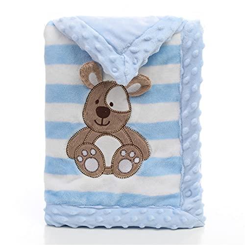 ZXJ Manta Suave para Bebé Doble Capa Cesta Recién Nacidos Cochecito Mantas Cuna Colchoneta Edredón Niños 2 Tamaños (Color : Blue, Size : 100X150cm)
