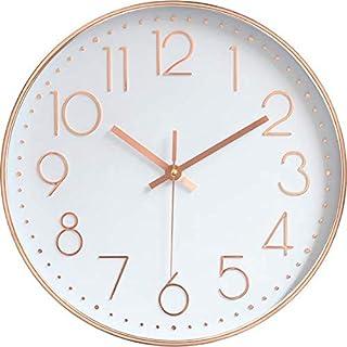justroots 壁掛け時計 おしゃれ 掛け時計 静音 サイレント 無音 クオーツ 30cm 壁掛け用フック付き (ローズゴールド)