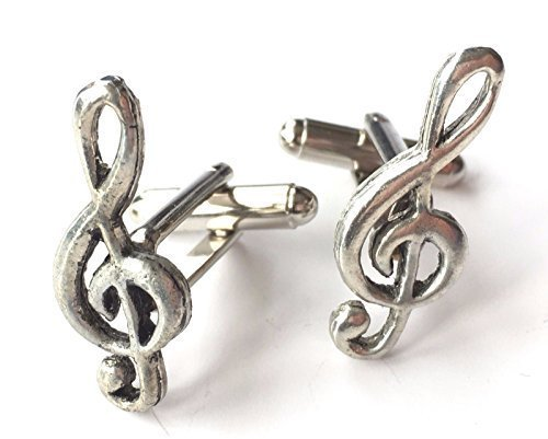 Violinschlüssel Musik Note handgemacht Zinn Manschettenknöpfe (N276) Verpacktes Geschenk