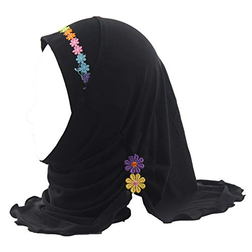 Cogongrass Girls Kids Muslim Hijab Islamic Arab Scarf Shawls with Beautiful Flowers for 3 to 8 years old Girls US Stock, Black, 45cm/18 inches